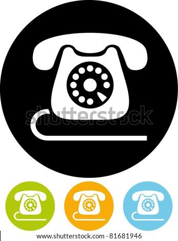 Retro telephone icon isolated (Vector) - stock vector