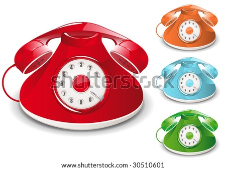 Retro Telephone Illustration (Global Swatches Included) - stock vector