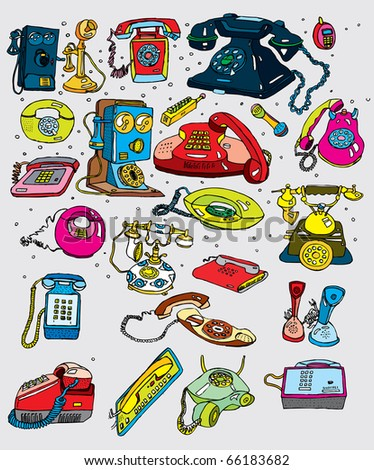 Retro Telephones Set  (vector)