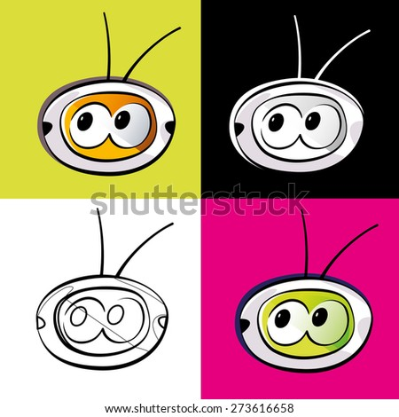 Retro television illustrations set, with eyes, isolated on white background or on colorful backgrounds. Vector illustration. - stock vector