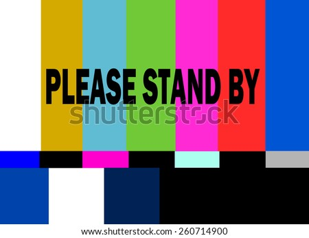 retro television test pattern with please stand by alert - stock vector