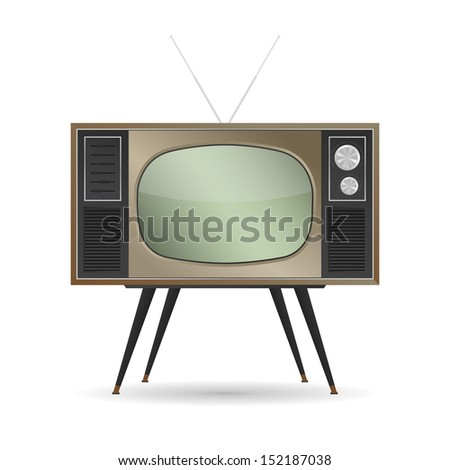 Retro television with empty screen on white background - Vector illustration