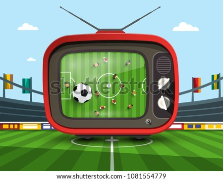 Retro Television with Soccer Match on Footbal Stadium - Vector