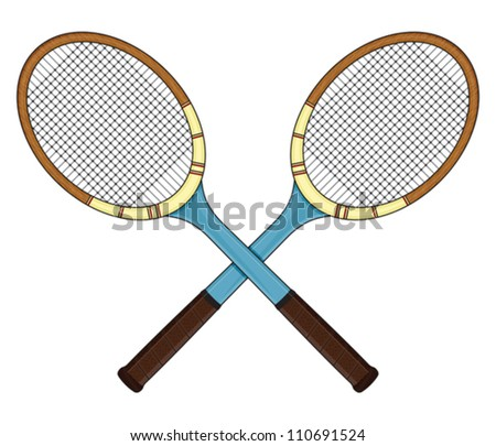 Retro tennis racket - stock vector