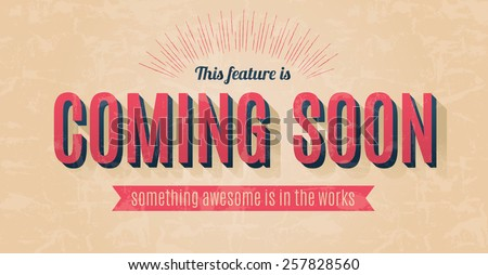 Retro text effect for a vector coming soon sign - stock vector