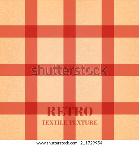 Retro textile background with red stripes. Textile texture with vintage pattern. Vector