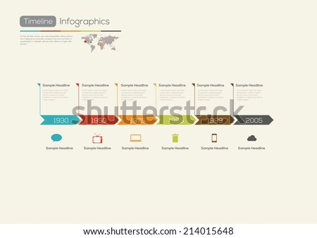 Retro Timeline Infographic. With set of Icons. Vector design template. - stock vector