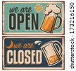 Retro tin door signs set for pub or tavern with beer mug. Vintage metal signs creative template with drink on rusty old texture. - stock vector