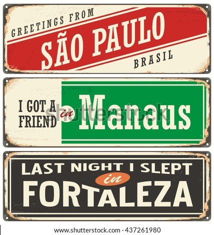 Retro tin sign collection with Brazil city names. Vintage vector souvenir sign or postcard templates. Travel theme. Places to visit and remember. - stock vector