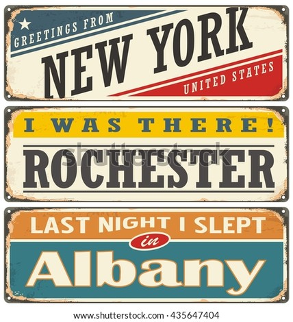 Retro tin sign collection with USA city names. Vintage vector souvenirs or postcard templates.