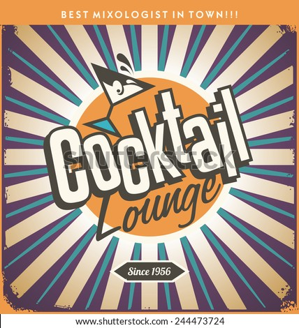 Retro tin sign design for cocktail lounge. Cocktail party creative vector concept. Vintage sign for bar or restaurant. Food and drink theme.  - stock vector