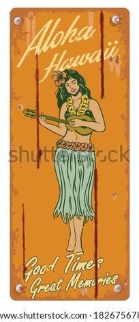 Retro tin sign, Hula girl playing ukulele - stock vector