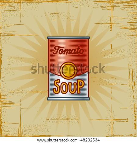 Retro Tomato Soup Can. Vector - stock vector