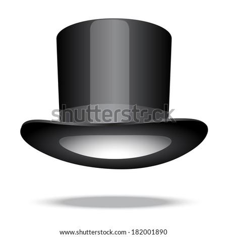 Retro top hat on white - stock vector