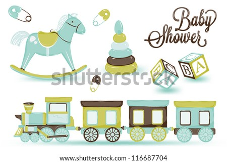 retro toy pony cubes and steam and children's pyramid, gentle tones blue brown scale - stock vector