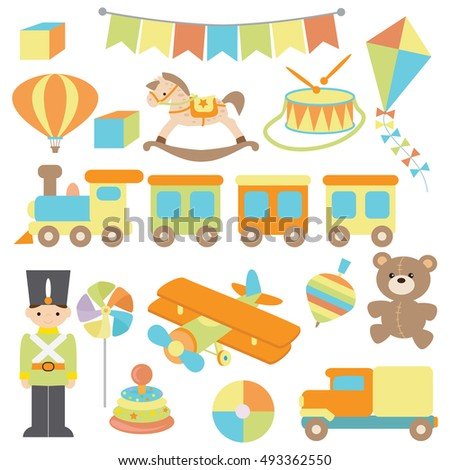 Retro toy vector cartoon illustration