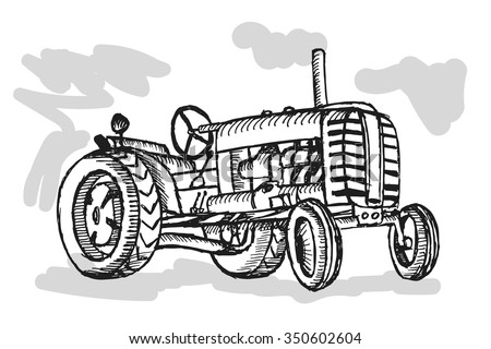 Retro tractor on white background. Free hand drawn. Vector illustration. - stock vector