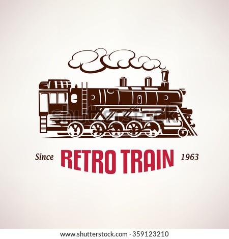 retro train, vintage  vector symbol, emblem, label template - stock vector