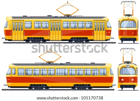 Retro Tram (1960th-1980th)  icons in vector, pixel optimized. - stock vector