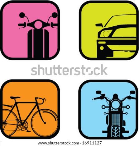 Retro Transport Icons - stock vector