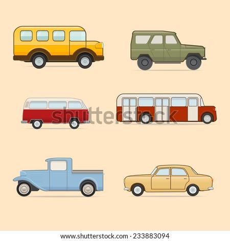 Retro transport icons set - stock vector