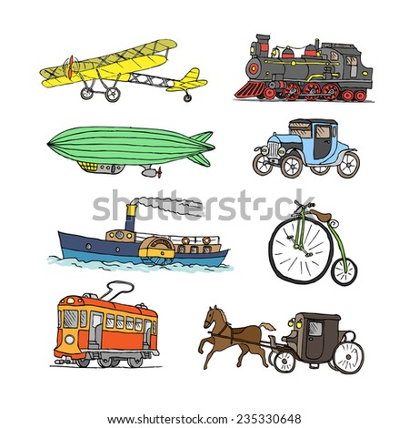 Retro transport. Old times. Airplane, locomotive, zeppelin, automobile, steamboat, bicycle, tram, diligence. Vector. Isolated on a white background. Doodle. Sketch. - stock vector