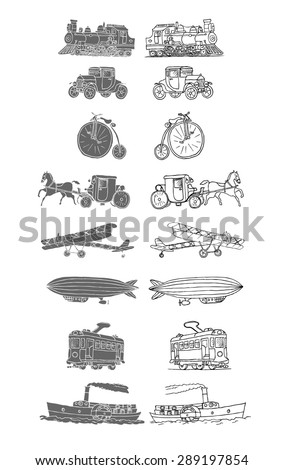 Retro transport. Old times. Airplane, locomotive, zeppelin, automobile, steamboat, bicycle, tram, diligence. Vector. Isolated on a white background. Doodles. Sketch. - stock vector