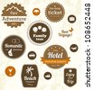 Retro travel labels. Editable vector set - stock