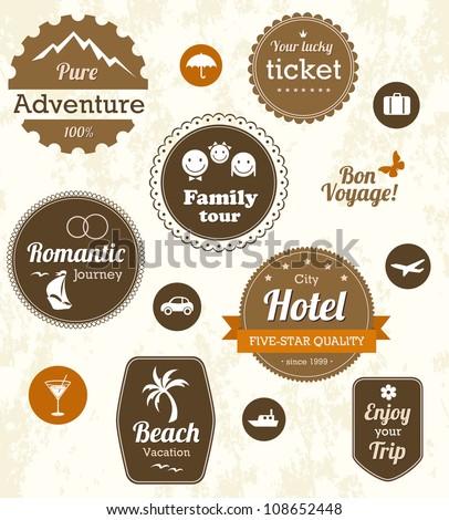 Retro travel labels. Editable vector set - stock vector