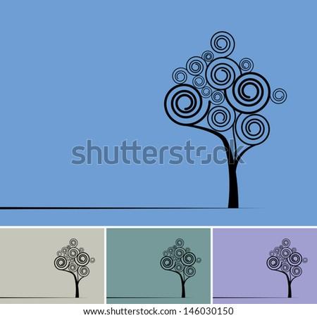 retro trees - stock vector