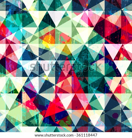 Retro triangle seamless pattern with grunge effect.