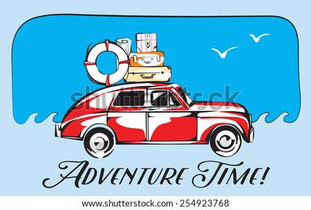 Retro Trip Card. Old Automobile  With a Trip Luggage And Adventure Time Lettering. Vector EPS 10 Card - stock vector