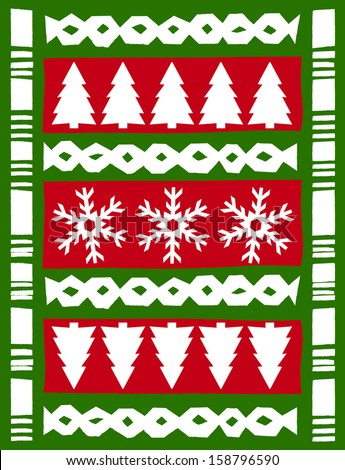 Retro Tropical Christmas Tapa Cloth Background in Red & Green Vector Illustration - stock vector