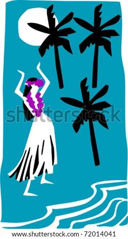 Retro Tropical Dancing Hula Girl Vector Illustration - stock vector