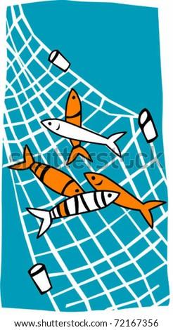 Retro Tropical Fish in Net Vector Illustration - stock vector