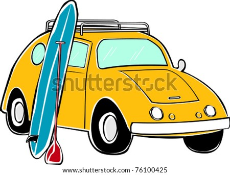Retro Tropical Happy Hippie Compact Standup Paddle Board Surf Car Vector Illustration - stock vector