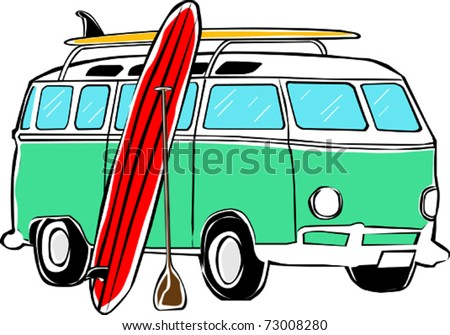 Retro Tropical Happy Hippie Micro Standup Paddle Board SUP Bus Vector Illustration