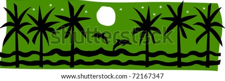 Retro Tropical Moonlit Jumping Dolphins Between Palms Vector Illustration - stock vector