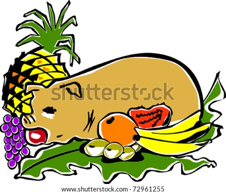 Retro Tropical Roasted Luau Pig Feast Vector Illustration