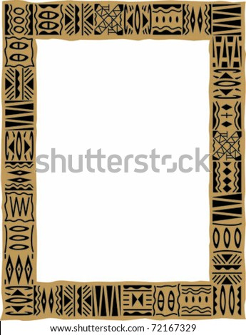 Retro Tropical Tapa Cloth Frame Border Vector Illustration - stock vector