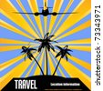 Retro Tropical Travel Vector Flyer - stock vector