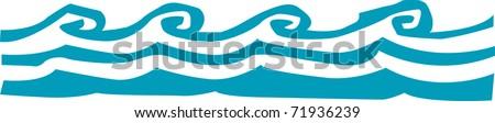 Retro Tropical Wave Border Drawing Vector Illustration - stock vector