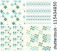 retro turquoise geometric figures seamless pattern scrapbook paper set - stock vector