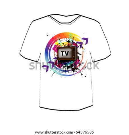 Retro TV background . T-shirt design template. Editable - stock vector