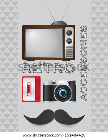 Retro tv, cassette, camera and mustache icon on hipster background. VECTOR illustration. - stock vector