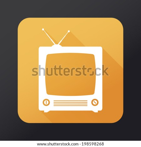 Retro TV flat icon with long shadow - stock vector