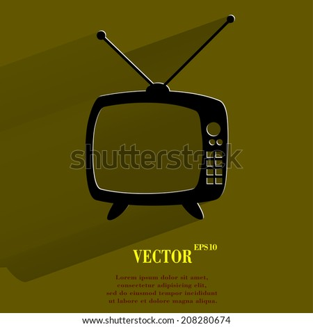 Retro tv. Flat modern web button with long shadow and space for your text. Vector. EPS10 - stock vector