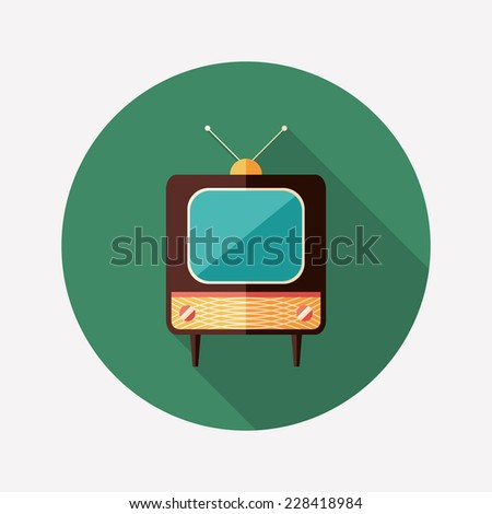 Retro TV flat round icon with long shadows. - stock vector