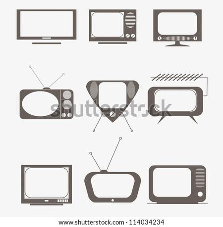 retro tv icons set - stock vector