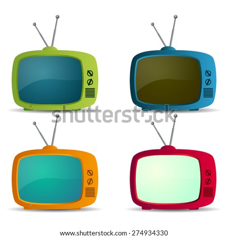 Retro TV icons set - stock vector